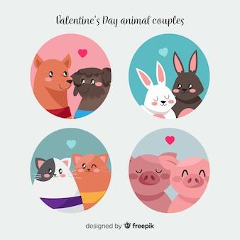 Coleção de animais casal dos namorados em círculo