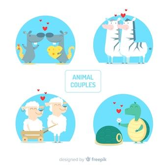 Coleção de animais casal dos namorados