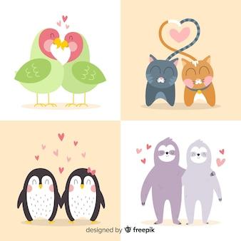 Coleção de animais casal mão desenhada dos namorados
