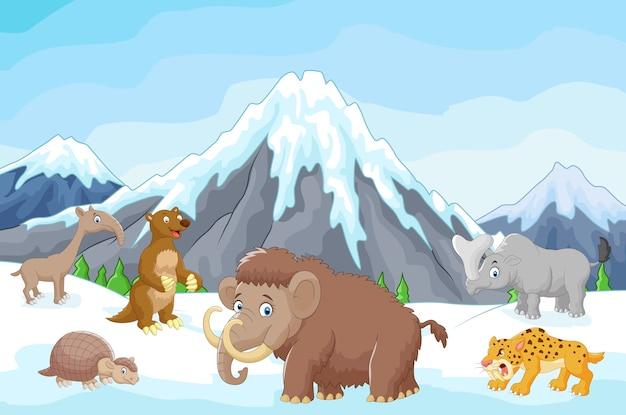 Coleção de animais da era glacial com montanhas