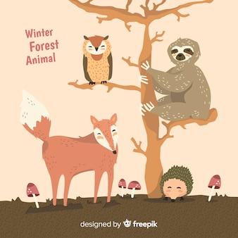Coleção de animais da floresta de inverno