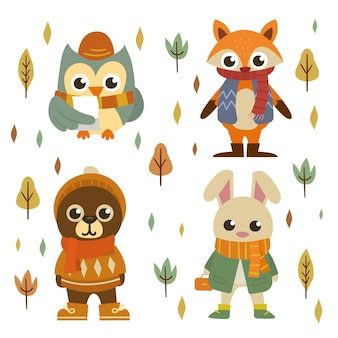 Coleção de animais da floresta de outono desenhada à mão