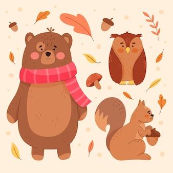 Coleção de animais da floresta outono