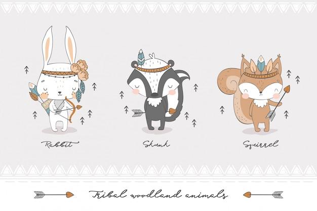 Coleção de animais da floresta tribal.