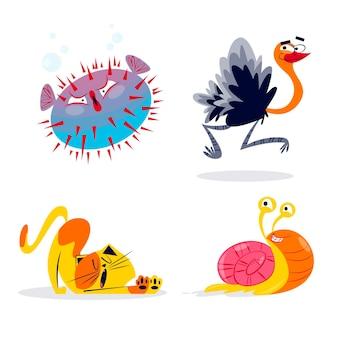 Coleção de animais de desenho animado