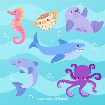 Coleção de animais de estilo infantil