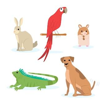 Coleção de animais de estimação diferentes bonitos