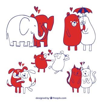 Coleção de animais de estimação do dia dos namorados desenhada mão