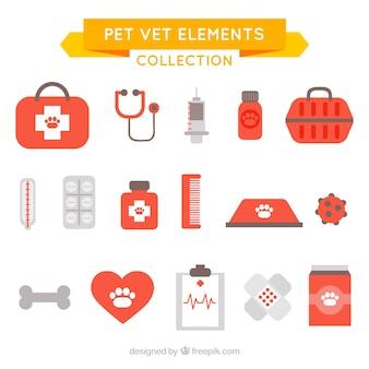 Coleção de animais de estimação e veterinários objetos no design plano