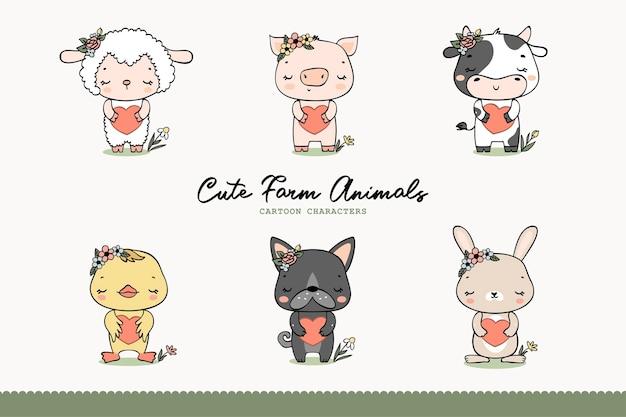 Coleção de animais de fazenda de meninas bonitos. mão-extraídas personagens de desenhos animados.