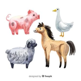 Coleção de animais de fazenda estilo aquarela