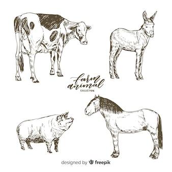 Coleção de animais de fazenda na mão desenhada estilo