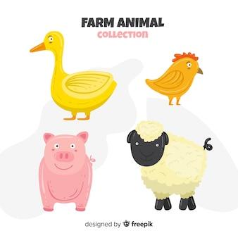 Coleção de animais de fazenda plana