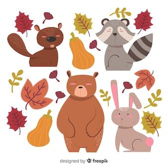 Coleção de animais de floresta de outono de mão desenhada
