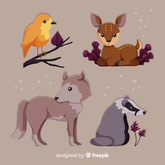 Coleção de animais de floresta plana outono