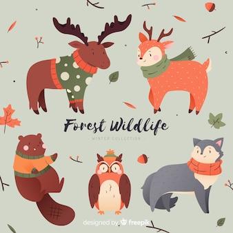 Coleção de animais de inverno bonito