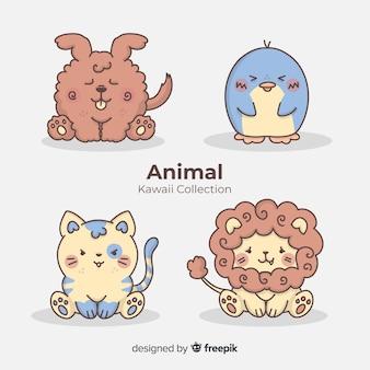 Coleção de animais de mão desenhada kawaii