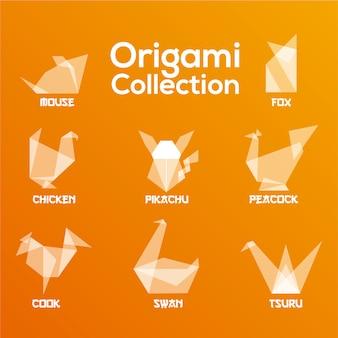 Coleção de animais de origami