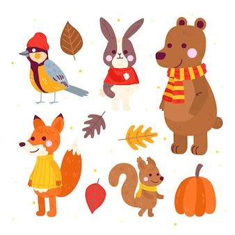 Coleção de animais de outono de desenho animado