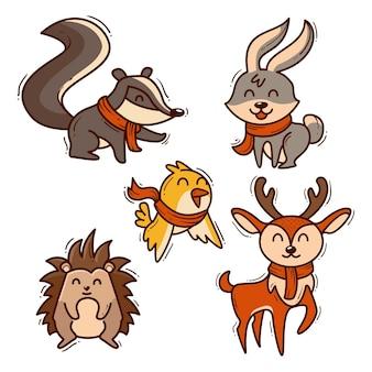 Coleção de animais de outono desenhados