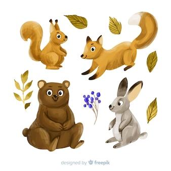 Coleção de animais de outono em aquarela