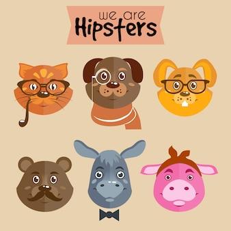 Coleção de animais de personagem de desenho animado hipster