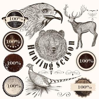 Coleção de animais desenhados à mão e adesivos retro