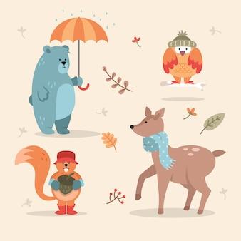 Coleção de animais design plano outono fost