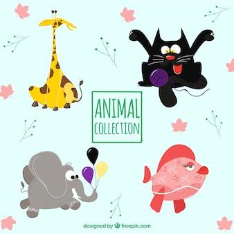Coleção de animais divertidos desenhados a mão