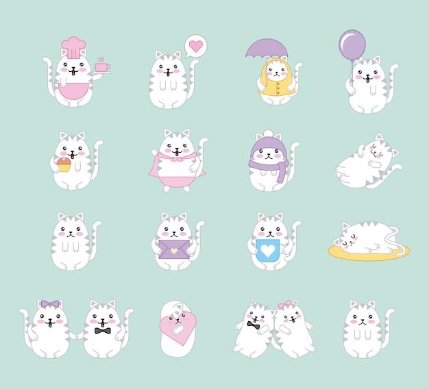 Coleção de animais dos desenhos animados de gatos kawaii