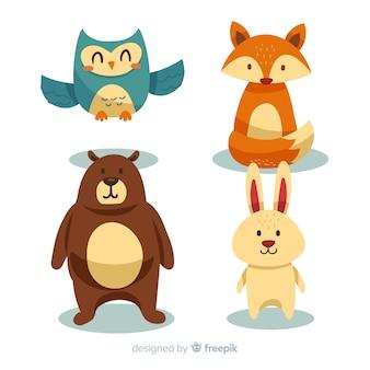 Coleção de animais dos desenhos animados de volta às aulas
