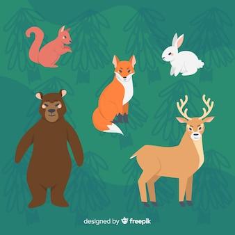 Coleção de animais dos desenhos animados design plano