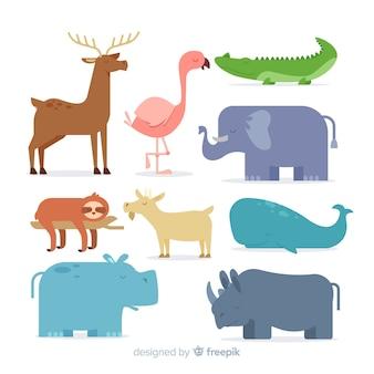 Coleção de animais dos desenhos animados em design plano