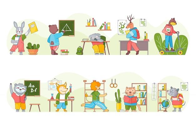 Coleção de animais dos desenhos animados engraçados estudantes ou alunos estudando. escrita animal inteligente, leitura de livros