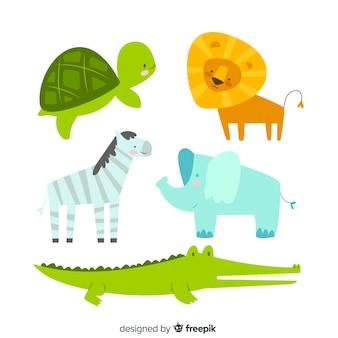 Coleção de animais em estilo infantil