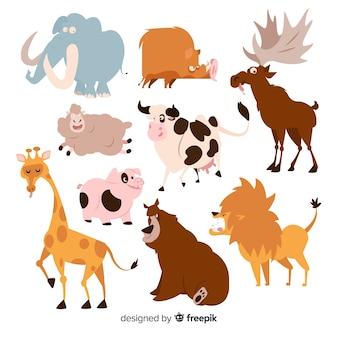 Coleção de animais engraçado dos desenhos animados