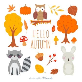 Coleção de animais floresta plana outono