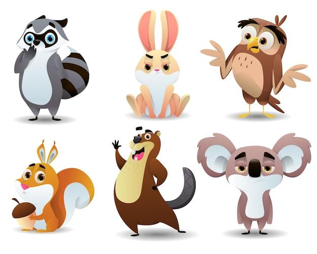Coleção de animais fofos de desenho animado