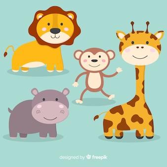 Coleção de animais fofos de desenhos animados