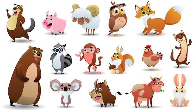 Coleção de animais fofos dos desenhos animados. ilustração