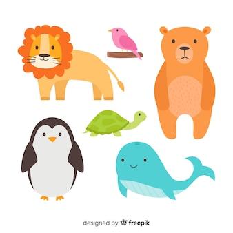 Coleção de animais fofos e selvagens desenhados