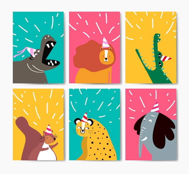 Coleção de animais fofos em desenhos animados de chapéus de festa