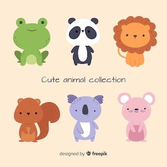 Coleção de animais fofos em design plano