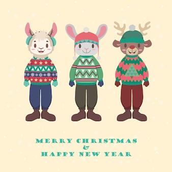 Coleção de animais fofos em suéteres de natal feio