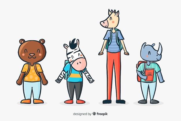 Coleção de animais ilustrados na escola