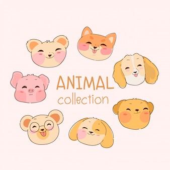 Coleção de animais kawaii mão desenhada