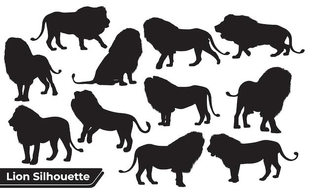 Coleção de animais leão em diferentes posições