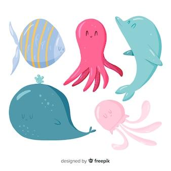 Coleção de animais marinhos bonito design plano