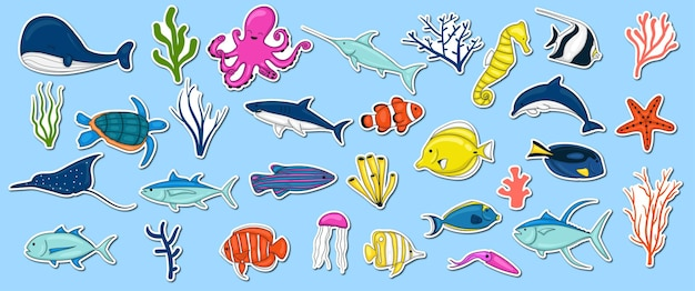 Coleção de animais marinhos coloridos desenhados à mão