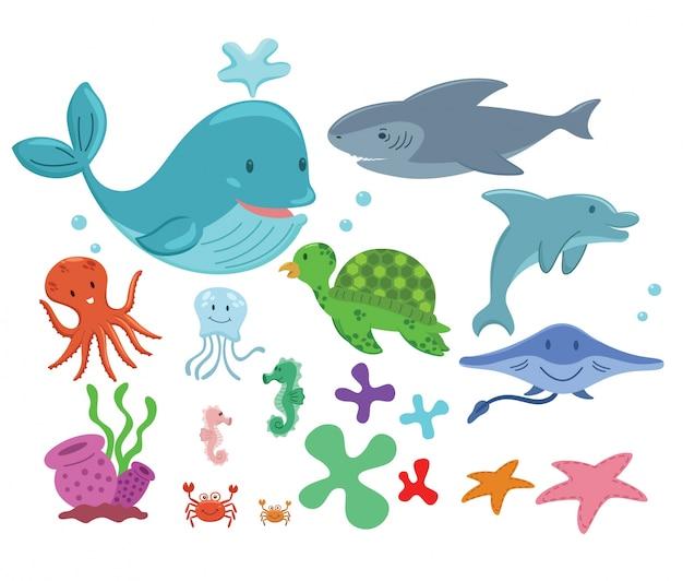 Coleção de animais marinhos